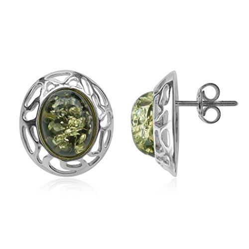 - Green Amber Sterling Silver Oval Stud Earrings