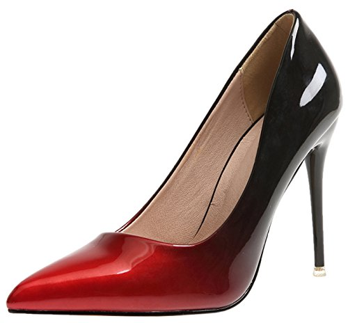 BIGTREE Escarpins Stiletto Gradients Robe De Hauts Pointu Femmes Escarpins Talons Chaussures Rouge gCTOfnxqg