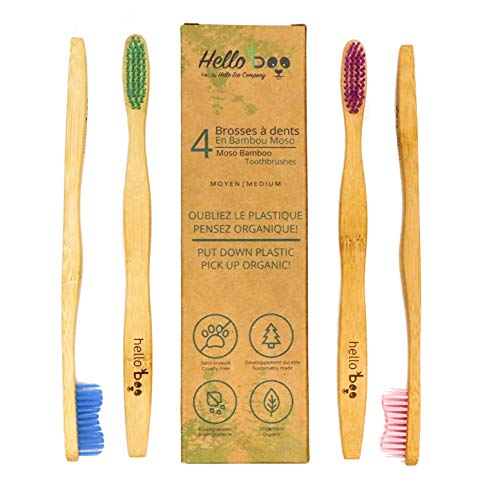Bamboo Toothbrush for Adults 4-Pack Biodegradable Tooth Brush Set - Organic Eco-Friendly Moso wooden Bamboo with Ergonomic Handles & Soft BPA Free Nylon Bristles | By HELLO BOO