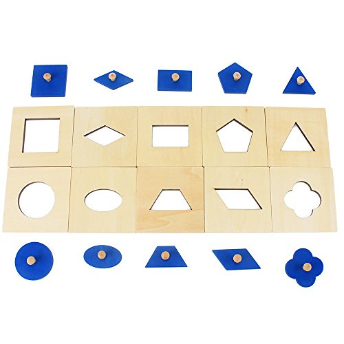10Pcs Family Version Montessori Wood Blue Geometric Shapes Panel/Insets Wooden Pegged Sensorial Toys for Children Preschool Aids
