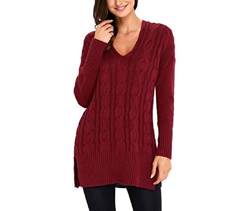 Donna Donna a Rosso Maniche Lunghe Lunghe Pullover Caldi da M M M Maglioni Dimensione Pullover Nero Oudan Colore Maniche a naxA0wpX