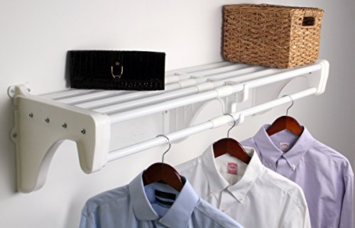 Rod Closet Finish - Expandable Closet Rod and Shelf Units with 2 End Brackets Finish: White
