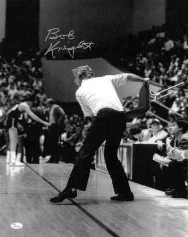Signed Bobby Knight Picture - 16x20 BW Spotlight Throwing Chair Witnessed Hologram #W882410 - JSA Certified