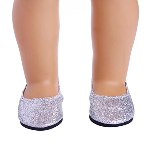 GBSELL Sparkle Dress Shoes Clothes and Accessories for 18 inch American Girl Doll (A) 18 Doll Shoes