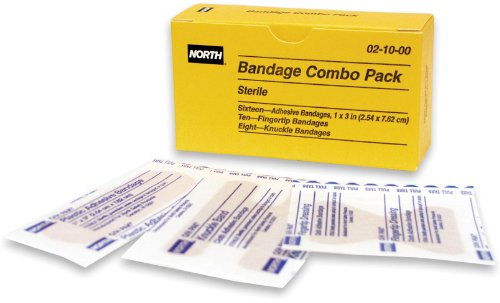 North by Honeywell 021000 Combo Pack Cloth - 10 Fingertip, 8 Knuckle Bandages & 16 1-Inch x 3-Inch per unit