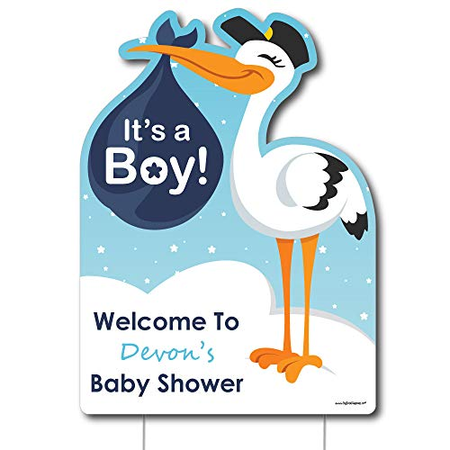 (Big Dot of Happiness Personalized Boy Special Delivery - Baby Shower Decorations - Custom It's A Boy Stork Party Welcome Yard Sign)