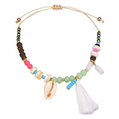 - FAgdsyigao Hawaii Anklet,Women Cowrie Shell Charm Beaded Tassel Anklet Summer Beach Ankle Bracelet White