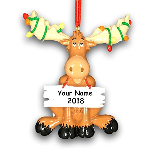Personalized Moose Elk with Colorful Christmas Lights Around Antlers Holding Sign Hanging Christmas Ornament with Custom Name and Date (Optional) (Ornament Name)