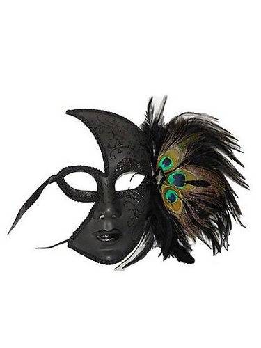 Venetian Side Feather Mask (Venetian Style Half Face Masquerade Mask with Side Peacock Feather)