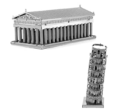 Metal Earth 3D Laser Cut Steel Models - Tower of Pisa AND Parthenon = SET OF 2