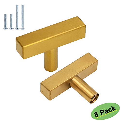 goldenwarm Cabinet Handles Gold Drawer Pulls 8 Pack HD1212GD Kitchen Cabinet Handles 2in(50mm) Single Hole Knobs Modern Gold Harware Drawer Handles Gold Knobs for Dresser