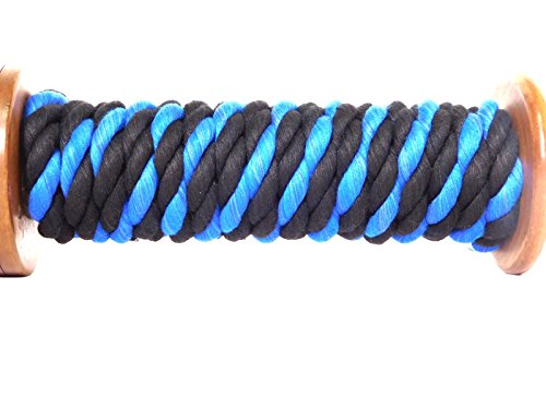 FMS Tri-Color Natural Twisted Cotton Rope Ravenox | (Black, Black & Royal Blue)(1/2-inch x 10-Feet)| Made in The USA | 3-Strand Rope by The Foot for Macramé, Décor & Design, Sports, Pet Toys, Craft by FMS (Image #2)