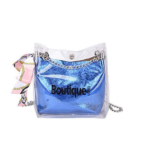 Girls shoulder bag chain Messenger bag popular transparent bag wild(Blue F) ()
