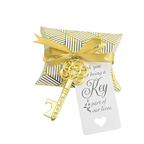 Aokbean 50pcs Wedding Favor Souvenir Gift Set Pillow Candy Box Vintage Skeleton Key Bottle Openers Escort Thank You Tag French Ribbon (Gold)