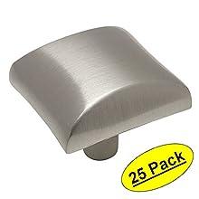 "Cosmas 6262SN Satin Nickel Modern Cabinet Hardware Knob - 1-1/16"" Inch Square - 25 Pack"
