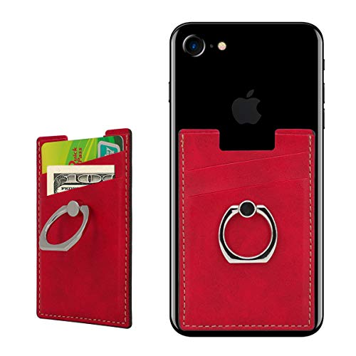 BIBERCAS Phone Card Holder with Ring Grip Stand Adhesive Stick-on Credit Card Wallet for iPhone and Android,Compatible with Magnetic Car Mount Holder-Red (Card Wallet Grip)