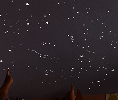 Kit of 270 fluorescent STARS + STENCIL of 2 m². EXACT REPRODUCTION OF THE SKY +2 MAPs with indications. Astronomy on ceiling or wall. Phosphorescent stickers. Glow in the dark stars by Encambio Alcrea (Image #6)