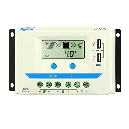 45A Solar Charge Controller 12V/24V Auto, EPEVER 45 amp Solar Panel Battery Charge Regulator with LCD Display Dual USB Output for Lead Acid (AGM Sealed Gel Flooded) Battery