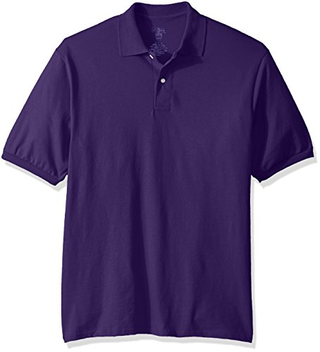 Jerzees Men's Spot Shield Short Sleeve Polo Sport Shirt, Deep Purple, - Shield Spot