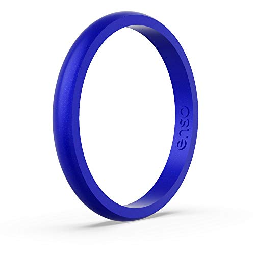 Enso Rings Halo Birthstone Silicone Ring | Made in The USA | Lifetime Quality Guarantee | Comfortable, Breathable, and Safe (Sapphire, 8) ()
