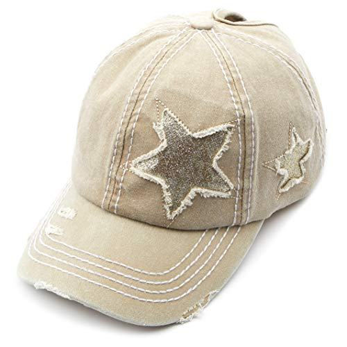 Womens Glitter Baseball Cap - C.C Exclusives Hatsandscarf Washed Distressed Cotton Denim Ponytail Hat Adjustable Baseball Cap (BT-14) (Beige Glitter Stars)