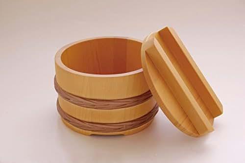 Yamako Japanese Bucket Style Wooden Bowl w/Lid 31014 31015
