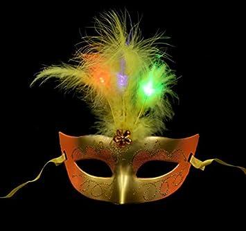 SOUTHSKY Amarillo LED Mariposa Pluma Amarilla Mascara Cosplay Mascara, la Mascara de Partido, el