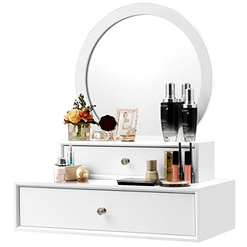 - CHARMAID 2-in-1 Vanity Mirror with 2 Removable Drawers, Vanity Mirror Wall Mount or Placed on the Desk, Round Makeup Mirror DIY for Bedroom, Bathroom Vanity Over Sink, Modern Bathroom Vanity (White)