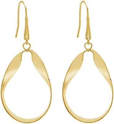 Gold Tone Stainless Steel Oval Dangle 40mm Hook Earring