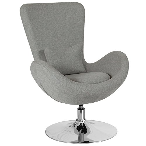 Flash Furniture Egg Series Light Gray Fabric Side Reception Chair