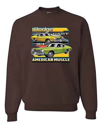 Dodge Dart 1974 Retro American Vintage Muscle Racer   Mens Cars and Trucks Crewneck Graphic Sweatshirt, Brown, 3XL