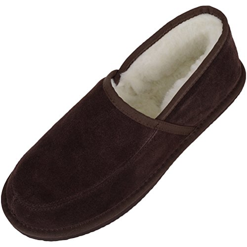 SNUGRUGS Unisex Adults' Suede with Wool Lining and Rubber Sole Slippers Brown (Brown)