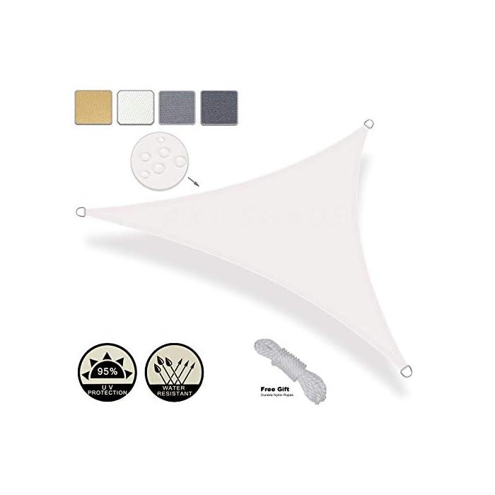 Vela de sombra impermeable hecha de 160g/㎡ impermeable poliéster, anti-humedad / moho / manchas, No se recomienda su uso en tormentas eléctricas, fuertes lluvias, tormentas y días de nieve.El producto no está hecho de una sola pieza de tela, sino que se compone de dos piezas de tela. Ofrece hasta un 95% de protección ante los rayos UV.Proteja de forma segura a su familia de los rayos dañinos del Sol durante largos periodos de tiempo Diseño de borde cóncavo para un mejor estiramiento, La costura del producto apunta al suelo,instale en un ángulo de 20-40 grados con la máxima tensión, el agua puede fluir más fácilmente, no es 100% resistente al agua