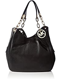 black and gray michael kors bag ya6d  MICHAEL Michael Kors Fulton Large Shoulder Tote in Black