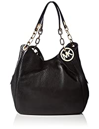 Michael Kors Women's Large Fulton Shoulder Tote Leather Top-Handle Hobo