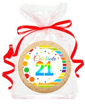 21st Birthday Cookies (21st Birthday / Anniversary Rainbow Image Freshly Baked Party Favor / Gift Decorated M & M Rainbow Cookies - 12pk)