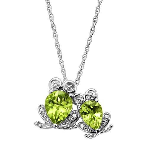 2 3/4 ct Natural Peridot Frog Duo Pendant Necklace with Diamonds in Sterling (Green Frog Pendant)