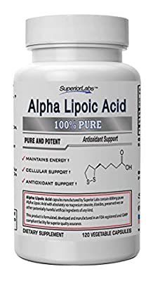 #1 Alpha Lipoic Acid - Powerful 600mg, 4 MONTH SUPPLY 120 Capsules - Formulated and Manufactured in USA - 100% Money Back Guarantee