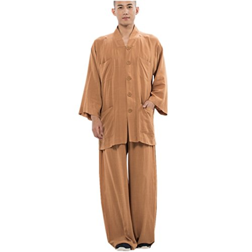 Sets Buddhist Monk Outfit Summer Suit 3/4 Sleeve (Brown, S) ()