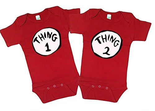 [Thing 1 Thing 2 Baby Onesies Halloween Costume New Born - 24 Months (Xl, Red)] (Thing 1 Thing 2 Halloween Costumes)