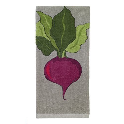 Textiles Kitchen (All-Clad Textiles 100-percent Cotton Fiber Reactive Beet Print Kitchen Towel, 17-inch x 30-inch, Titanium Grey)
