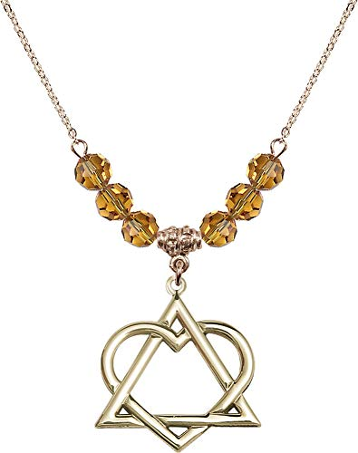 Bonyak Jewelry 18 Inch Hamilton Gold Plated Necklace w/ 6mm Yellow November Birth Month Stone Beads and Adoption Heart ()