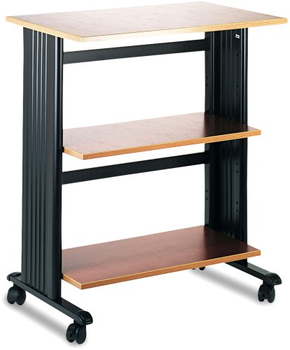 Height Adjustable Stand Safco - Safco Products 1881CY Muv Three Level Adjustable Shelf Printer Machine Stand, Cherry/Black