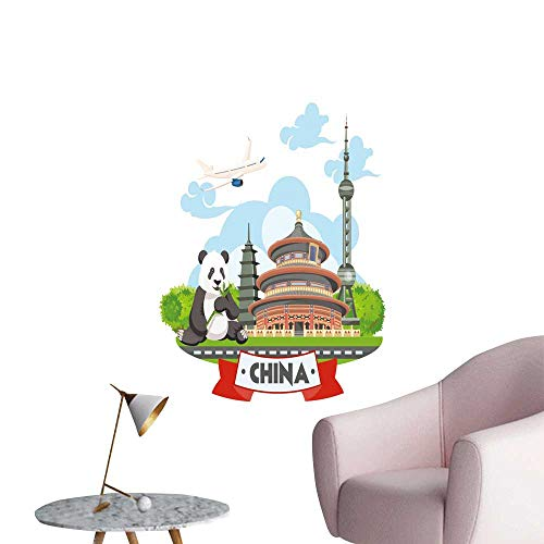 SeptSonne Vinyl Artwork China Travel Chinese Set Architecture Foo Costumes Traditional Easy to Peel Easy to Stick,16