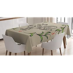 Ambesonne Kitchen Decor Tablecloth, Rooster and Floral Art Decorative Clock Time Swirls Leaves Farm Animal Theme Decoration, Dining Room Kitchen Rectangular Table Cover, 52 X 70 inches, Grey Green