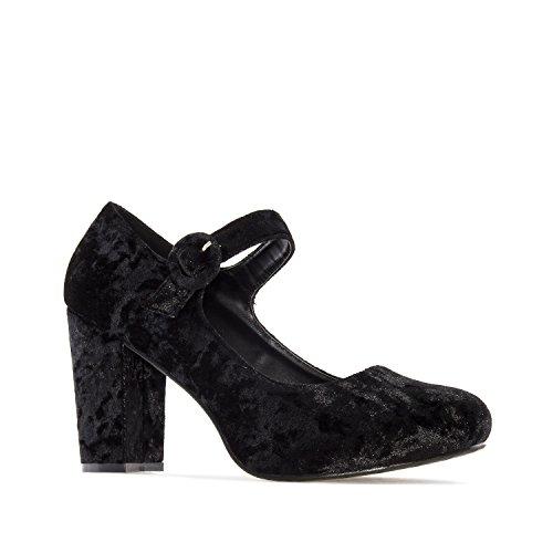 Andres Machado AM5197.Heeled Mary Janes in Faux Leather/Velvet.Petite&Large Sizes: UK 0.5 to 2.5/EU 32 to 35 - UK 8 to 10.5/EU 42 to 45. Black Velvet