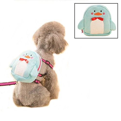 Stock Show Pet Dog Cartoon Backpack Harness with Leash, Puppy Dog Cute Animal Back Pack Saddle Bags with Lead Leash for Dog Outdoor Training Walking, Blue
