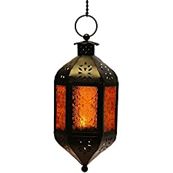 Amber Glass Hanging Moroccan Candle Lantern with Chain