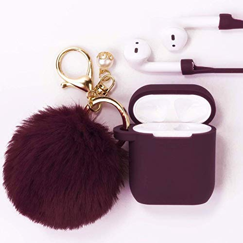 Airpods Case - Filoto Airpods Silicone Case Cover with Fur Ball Keychain/Strap for Apple Airpod 1&2 (Burgundy)