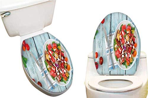 Waterproof Toilet Seat Sticker Watermelon mixe Tomato sala feta Cheese overhea Scene Toilet Stickers Restroom Art Stickers 11